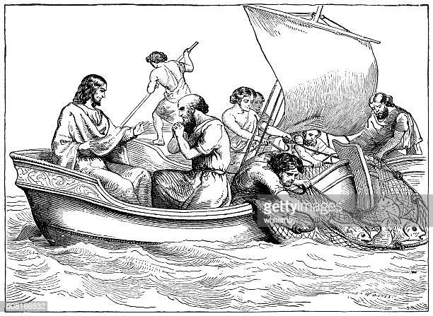 jesus with disciples fishing in the sea of galilee - historical palestine stock illustrations