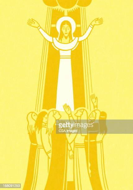 jesus with followers - religious dress stock illustrations, clip art, cartoons, & icons