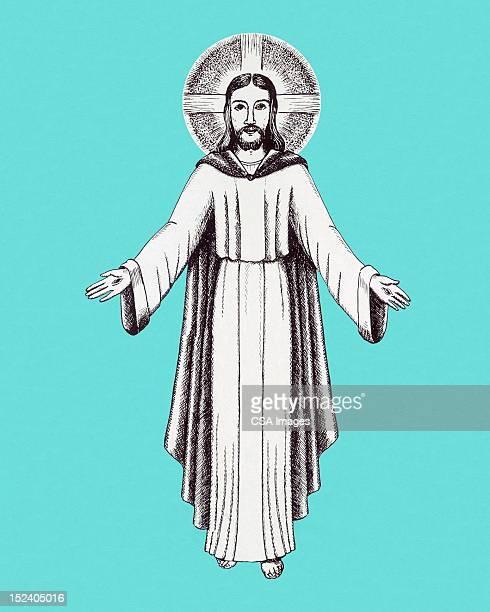 jesus with halo - jesus christ stock illustrations, clip art, cartoons, & icons