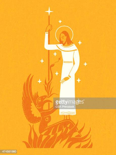 jesus with the devil - temptation stock illustrations