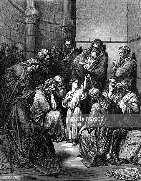 jesus with  the learned ones - biblical event stock illustrations