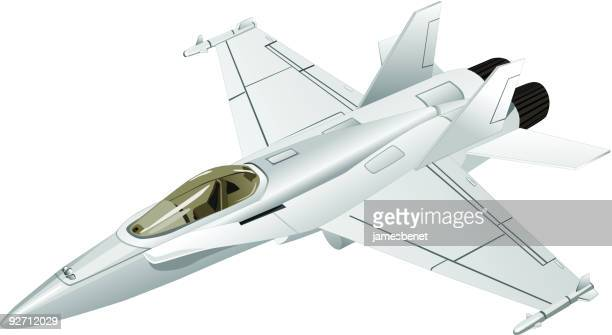 jet fighter (vector) - fa 18 hornet stock illustrations