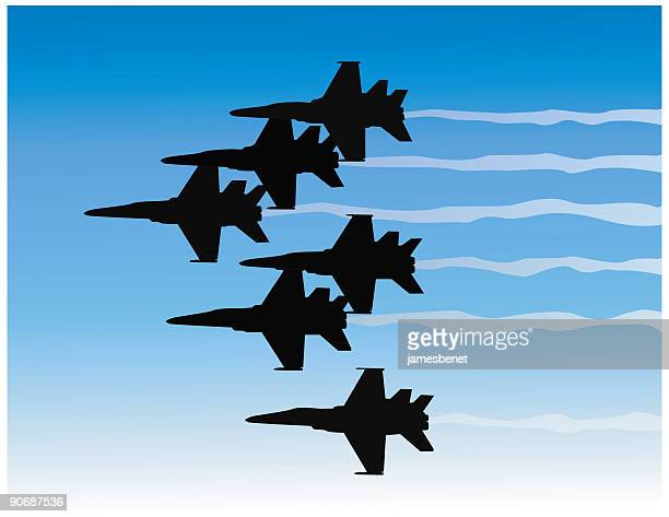 jet formation (vector) - fa 18 hornet stock illustrations