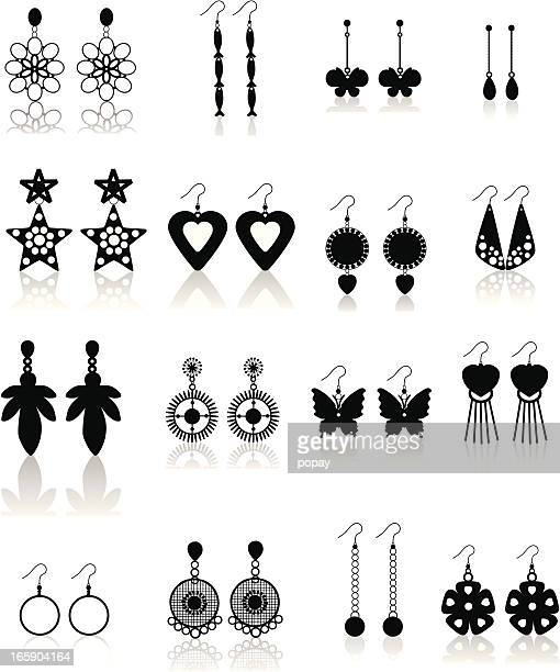 jewelry silhouette - earring stock illustrations