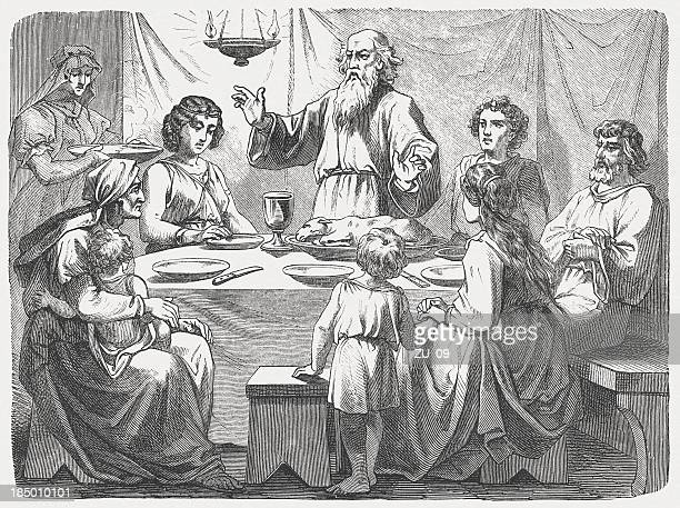 jewish family at the passover, wood engraving, published in 1877 - passover stock illustrations