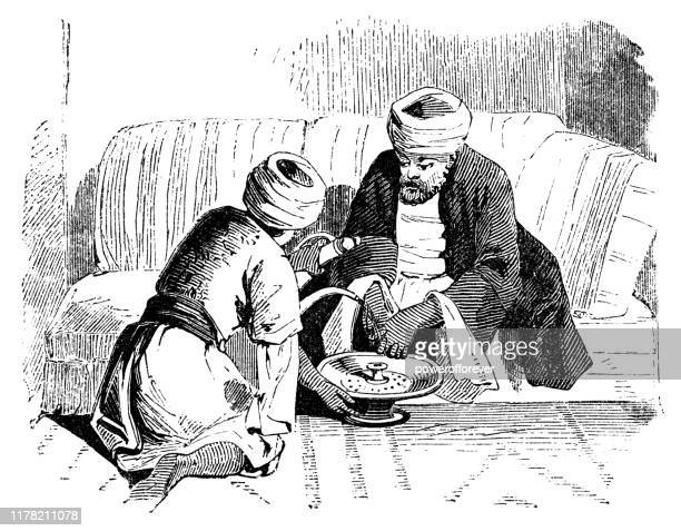 jewish father and son washing their hands after a meal (mayim acharonim) in sidon, lebanon - ottoman empire 19th century - ottoman empire stock illustrations