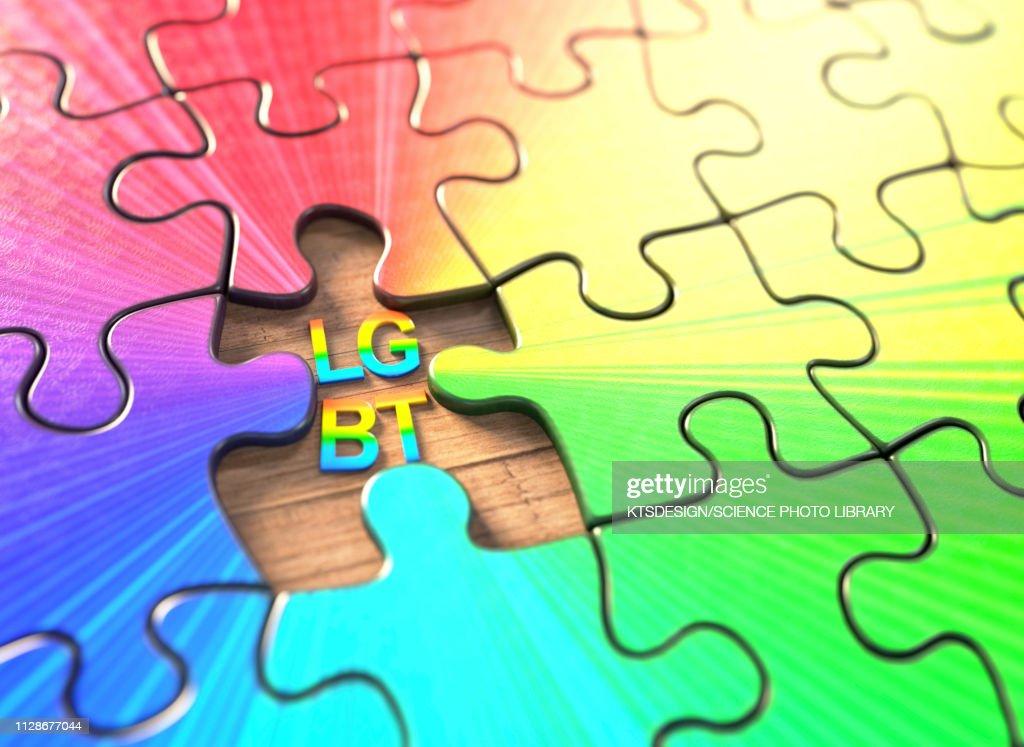 LGBT jigsaw puzzle, illustration : stock illustration