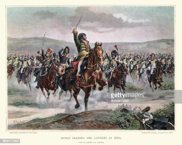 joachim murat leads a cavalry charge the battle of jena - animals charging stock illustrations, clip art, cartoons, & icons
