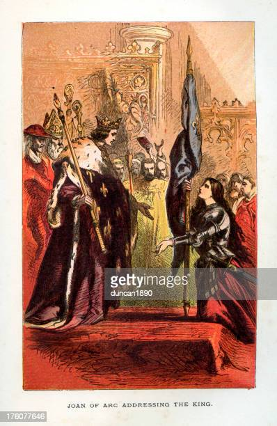 joan of arc addressing the king - st. joan of arc stock illustrations