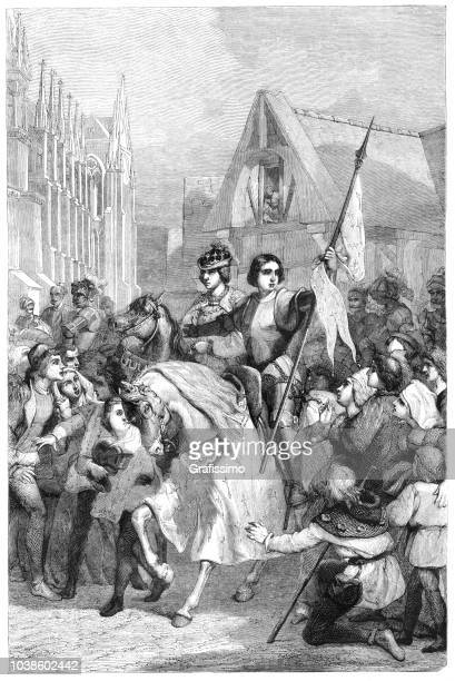 joan of arc and charles vii entering reims france illustration - st. joan of arc stock illustrations
