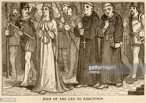 joan of arc being taken to her execution - st. joan of arc stock illustrations