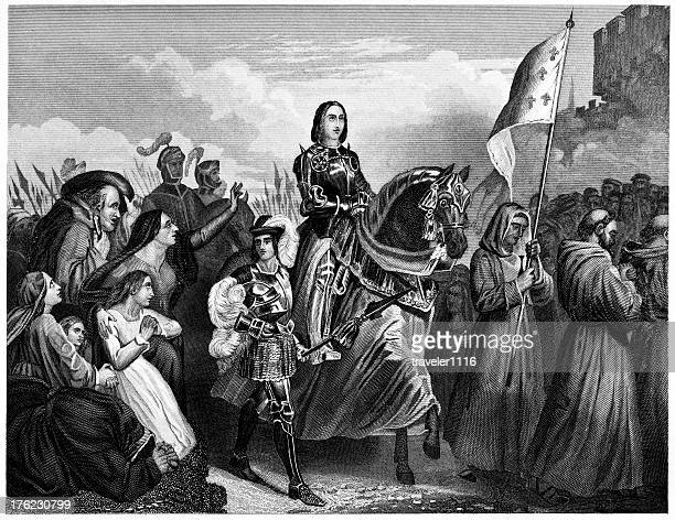 joan of arc entering orleans - st. joan of arc stock illustrations