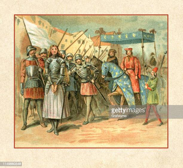 joan of arc entering reims france 1429 - st. joan of arc stock illustrations