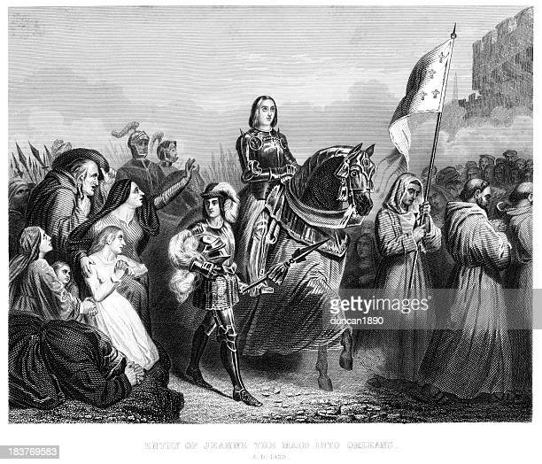 joan of arc enters orleans - st. joan of arc stock illustrations