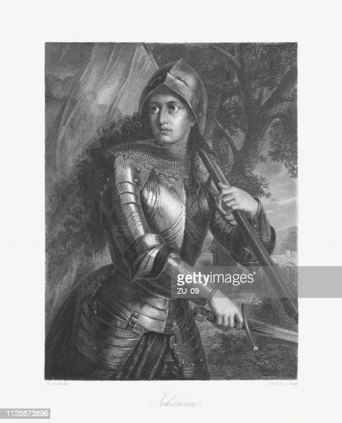 joan of arc (c.1412-1431) french national heroine and saint, 1859 - st. joan of arc stock illustrations