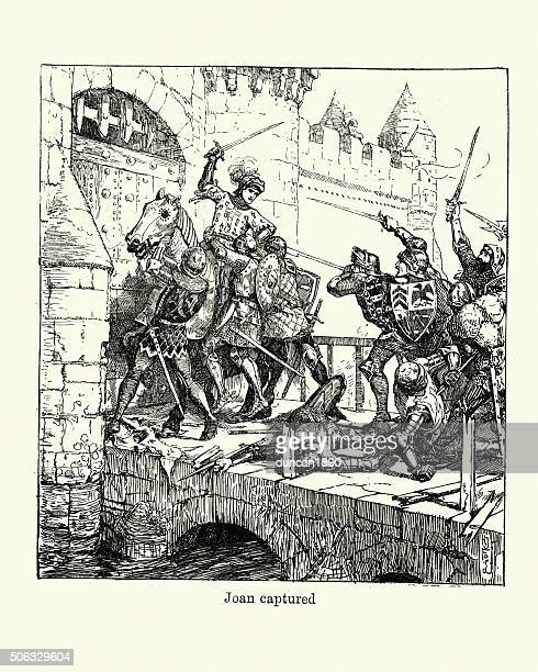 joan of arc is captured - st. joan of arc stock illustrations