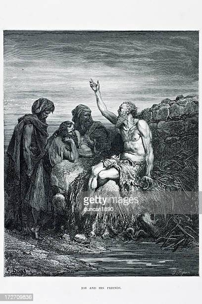 job and his friends - old testament stock illustrations