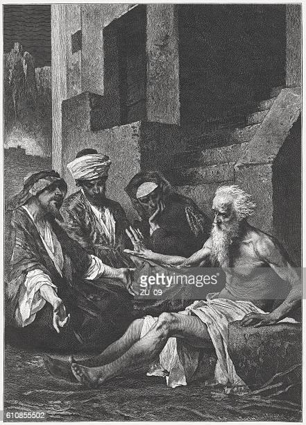 bildbanksillustrationer, clip art samt tecknat material och ikoner med job and his friends, wood engraving, published in 1882 - bibel