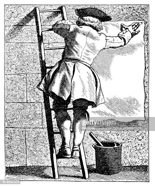 jobs from victorian paris: billposter - antique stock illustrations, clip art, cartoons, & icons