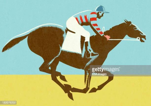 jockey riding horse - racehorse stock illustrations