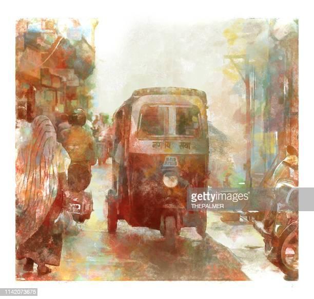 jodhpur city india scene - mixed digital technique - moped stock illustrations, clip art, cartoons, & icons