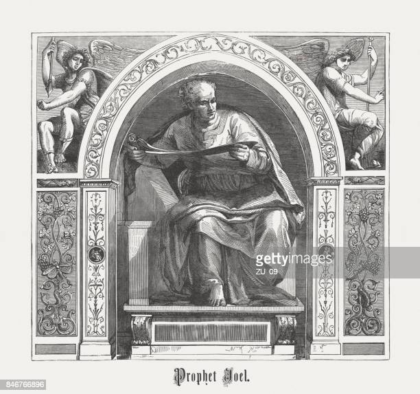 Joel the Prophet (after Michelangelo, Vatican), wood engraving, published 1886