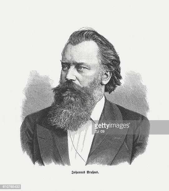 johannes brahms (1833-1897), german composer, wood engraving, published in 1882 - fine art portrait stock illustrations, clip art, cartoons, & icons