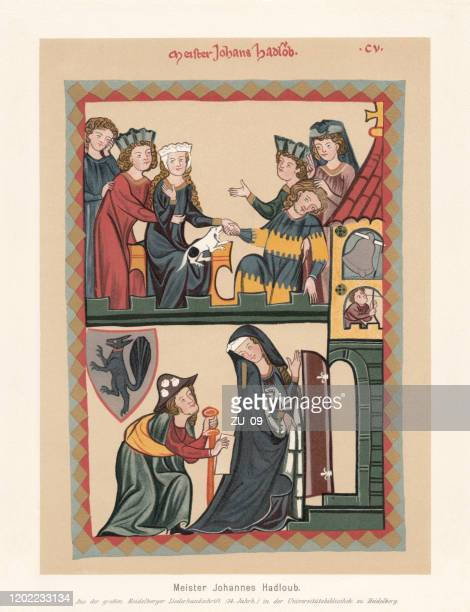 johannes hadlaub, middle high german-swiss minstrel, facsimile (chromolithograph), published 1897 - circa 14th century stock illustrations