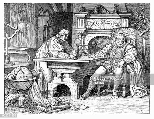 johannes kepler discussing his discoveries with holy roman emperor rudolf ii. - johannes kepler stock illustrations