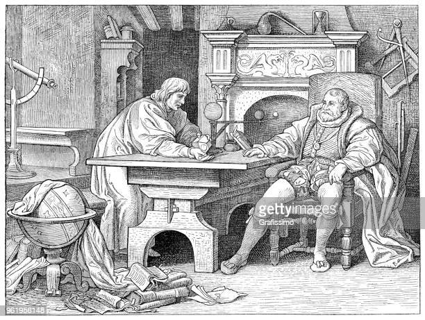 johannes kepler with king rudolf ii - johannes kepler stock illustrations