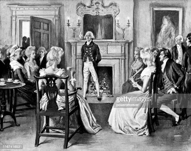 john adams meeting with the french consul at president's house in philadelphia, pennsylvania, united states - 18th century - diplomacy stock illustrations