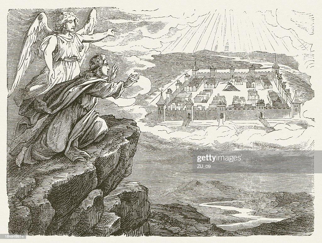 Line Drawing Jerusalem : John and the new jerusalem published stock illustration