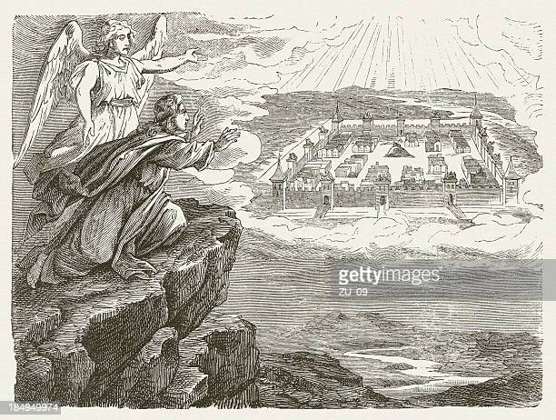 john and the new jerusalem (revelation 21, 1-2), published 1877 - new testament stock illustrations