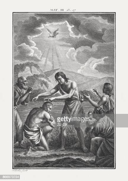 ilustraciones, imágenes clip art, dibujos animados e iconos de stock de john bautizando a cristo (mateo 3, 16), copperplate grabado, publicado c.1850 - san juan bautista