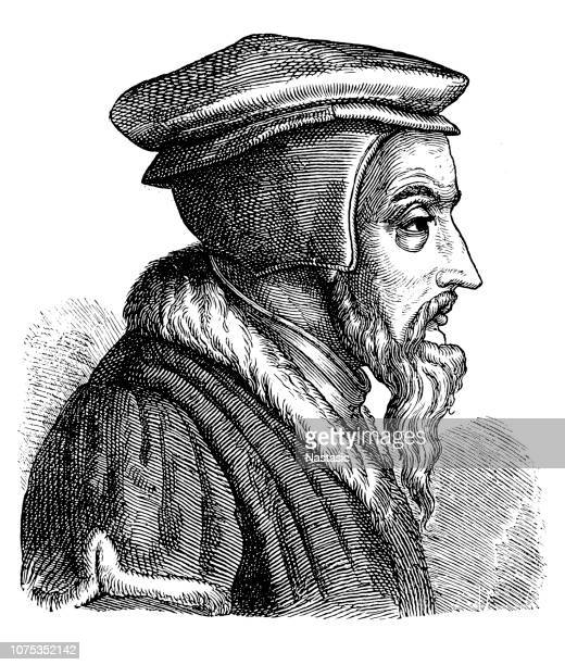 john calvin (1509-1564), french theologian and reformer during the protestant reformation - protestantism stock illustrations