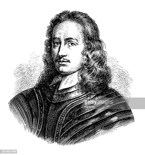 john hampden (ca. 1595 – 1643) was an english politician - knight person stock illustrations, clip art, cartoons, & icons