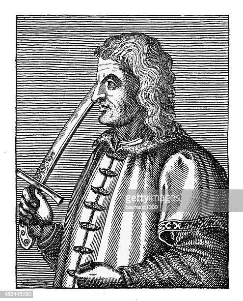 john huniades, 1388-1456, engraving - governor stock illustrations, clip art, cartoons, & icons
