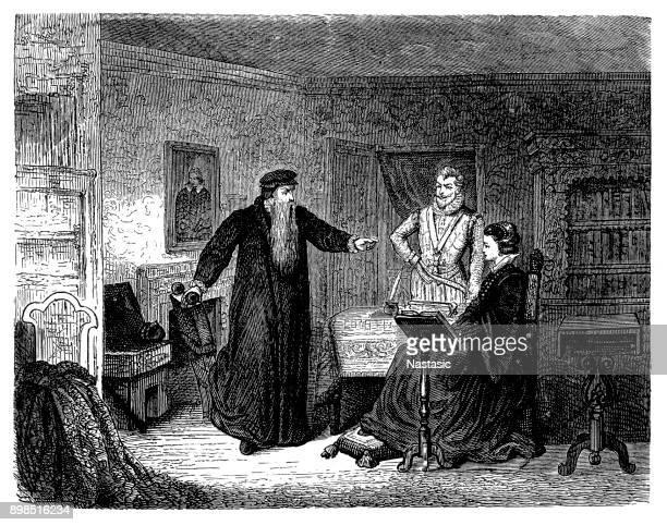 ジョン ・ ノックスは、1561-1564 カトリックのプラクティスをサポートするため、スコットランド女王メアリーを諭した。ホリールード、エジンバラ、スコットランド - スコットランド メアリー女王点のイラスト素材/クリップアート素材/マンガ素材/アイコン素材