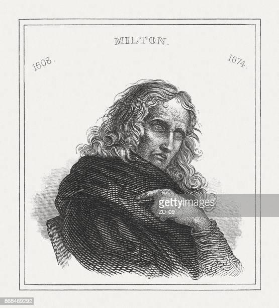 john milton (1608-1674), english poet, steel engraving, published in 1843 - john milton stock illustrations, clip art, cartoons, & icons