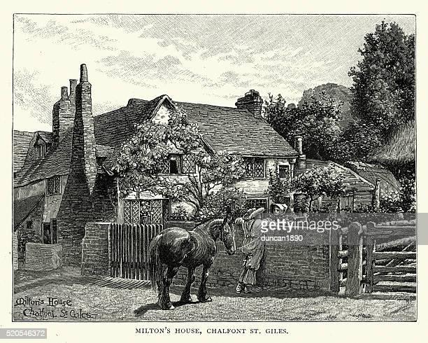 john milton's house, chalfont st giles, buckinghamshire - john milton stock illustrations, clip art, cartoons, & icons
