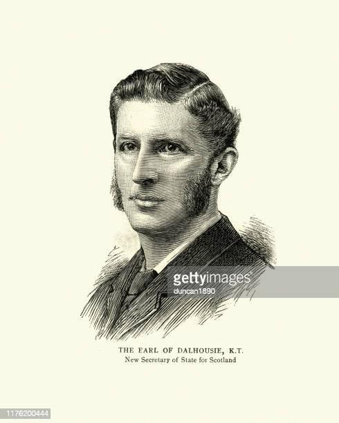 john ramsay, 13th earl of dalhousie, secretary for scotland 1886 - peerage title stock illustrations