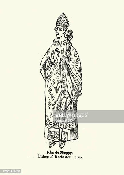 ilustrações, clipart, desenhos animados e ícones de john sheppey, bispo de rochester, século xiv - bishop clergy