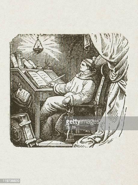 john tauler (johannes tauler, c.1300-1361), german monk, published in 1877 - bookstand stock illustrations, clip art, cartoons, & icons