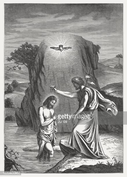 john the baptist baptizing jesus, wood engraving, published in 1888 - baptism stock illustrations
