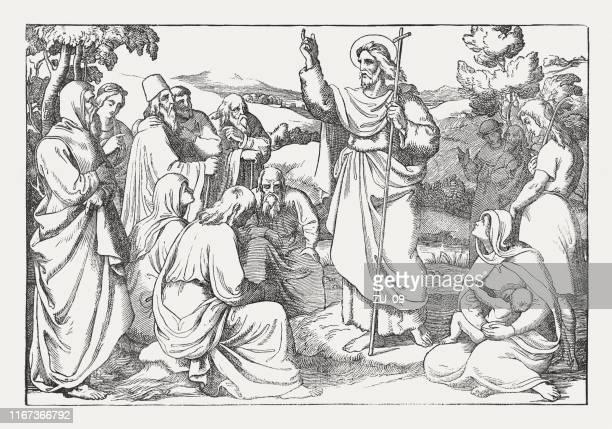 ilustraciones, imágenes clip art, dibujos animados e iconos de stock de juan el bautista predicando en el desierto, xiloque, publicado en 1850 - san juan bautista