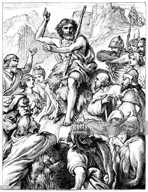 ilustraciones, imágenes clip art, dibujos animados e iconos de stock de john el bautista predicando en el desierto de judea - san juan bautista
