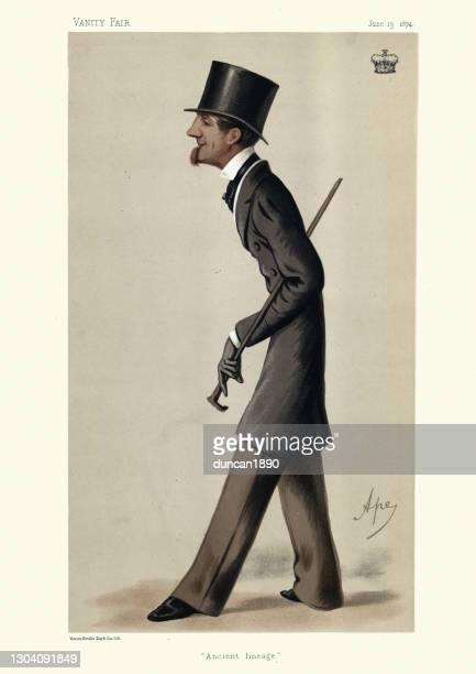 illustrations, cliparts, dessins animés et icônes de john thynne, 4e marquis de bath, vanity fair caricature, homologue et diplomate britannique victorien - marquis de bath