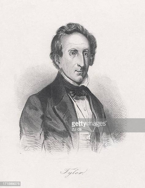 john tyler (1790-1862), tenth us-president, steel engraving, published c.1860 - governmental occupation stock illustrations, clip art, cartoons, & icons