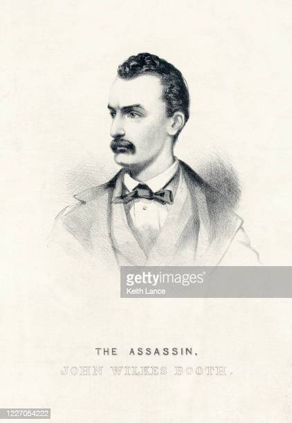 john wilkes booth, the assassin - actor stock illustrations