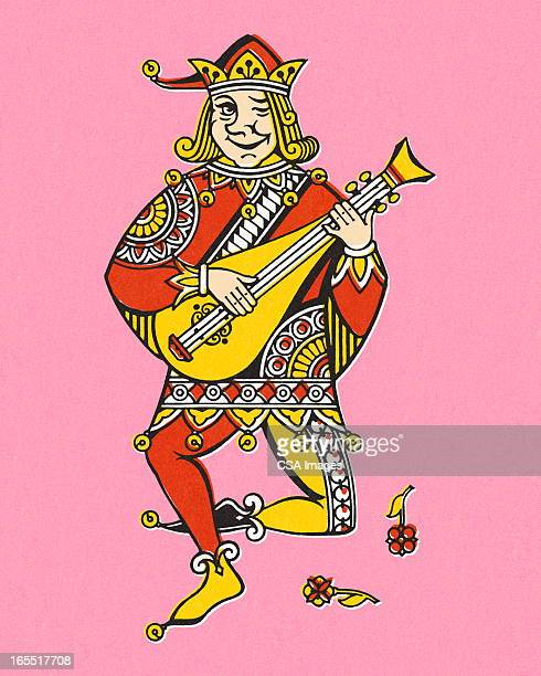 joker playing the mandolin - jester stock illustrations, clip art, cartoons, & icons